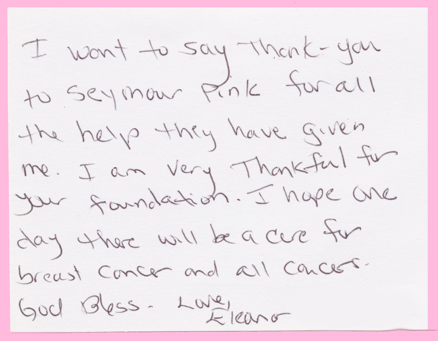 testimonials seymour pink just a short thank you note for granting me the xxxx for my rent it was so helpful